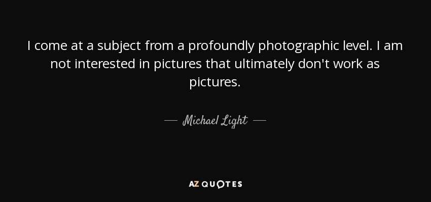 I come at a subject from a profoundly photographic level. I am not interested in pictures that ultimately don't work as pictures. - Michael Light