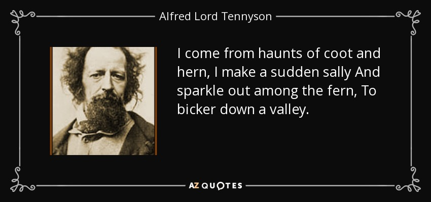 I come from haunts of coot and hern, I make a sudden sally And sparkle out among the fern, To bicker down a valley. - Alfred Lord Tennyson