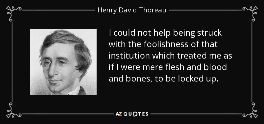 I could not help being struck with the foolishness of that institution which treated me as if I were mere flesh and blood and bones, to be locked up. - Henry David Thoreau