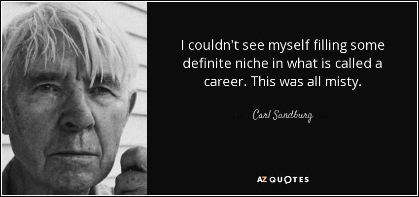 I couldn't see myself filling some definite niche in what is called a career. This was all misty. - Carl Sandburg