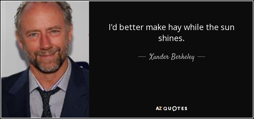 I'd better make hay while the sun shines. - Xander Berkeley