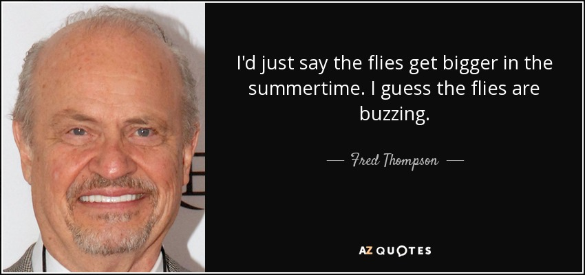 I'd just say the flies get bigger in the summertime. I guess the flies are buzzing. - Fred Thompson