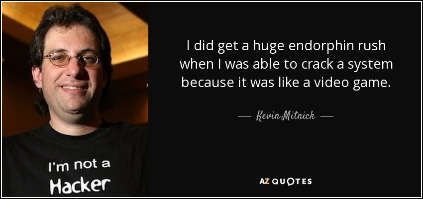 I did get a huge endorphin rush when I was able to crack a system because it was like a video game. - Kevin Mitnick