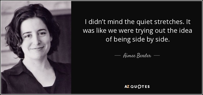 I didn't mind the quiet stretches. It was like we were trying out the idea of being side by side. - Aimee Bender