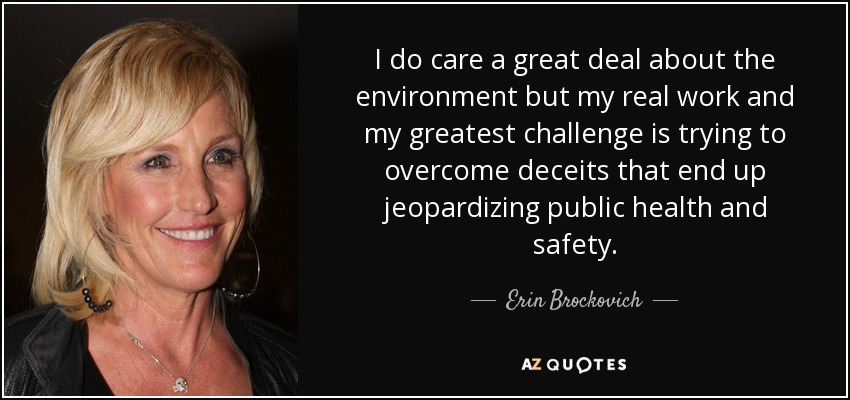 I do care a great deal about the environment but my real work and my greatest challenge is trying to overcome deceits that end up jeopardizing public health and safety. - Erin Brockovich