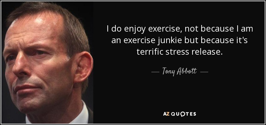I do enjoy exercise, not because I am an exercise junkie but because it's terrific stress release. - Tony Abbott