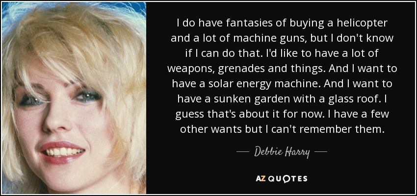 I do have fantasies of buying a helicopter and a lot of machine guns, but I don't know if I can do that. I'd like to have a lot of weapons, grenades and things. And I want to have a solar energy machine. And I want to have a sunken garden with a glass roof. I guess that's about it for now. I have a few other wants but I can't remember them. - Debbie Harry