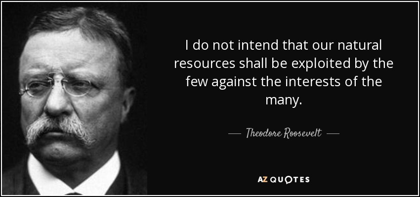 I do not intend that our natural resources shall be exploited by the few against the interests of the many. - Theodore Roosevelt