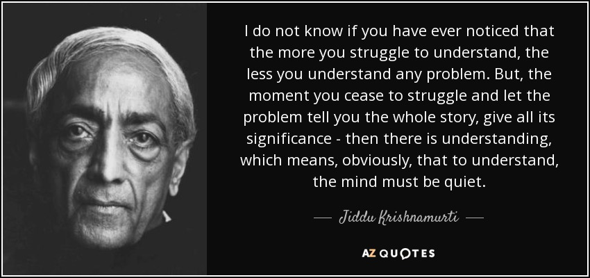 Understand That The Right To: Jiddu Krishnamurti Quote: I Do Not Know If You Have Ever