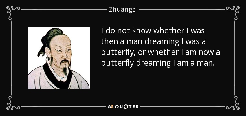 I do not know whether I was then a man dreaming I was a butterfly, or whether I am now a butterfly dreaming I am a man. - Zhuangzi