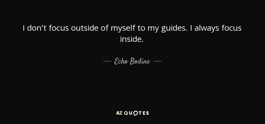 I don't focus outside of myself to my guides. I always focus inside. - Echo Bodine