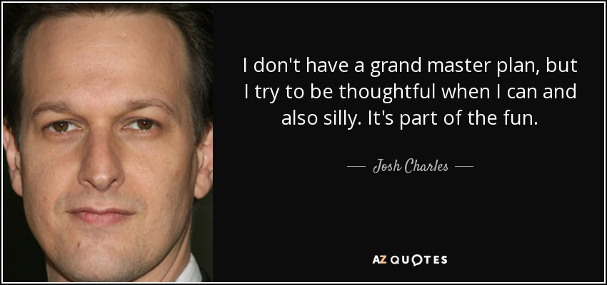 I don't have a grand master plan, but I try to be thoughtful when I can and also silly. It's part of the fun. - Josh Charles