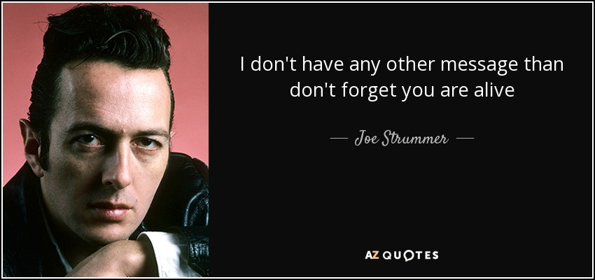 I don't have any other message than don't forget you are alive - Joe Strummer
