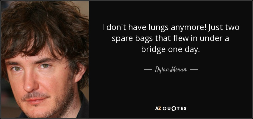 I don't have lungs anymore! Just two spare bags that flew in under a bridge one day. - Dylan Moran