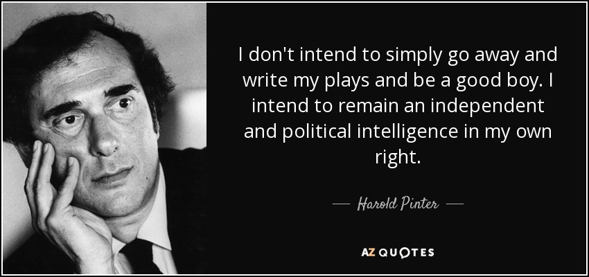 I don't intend to simply go away and write my plays and be a good boy. I intend to remain an independent and political intelligence in my own right. - Harold Pinter