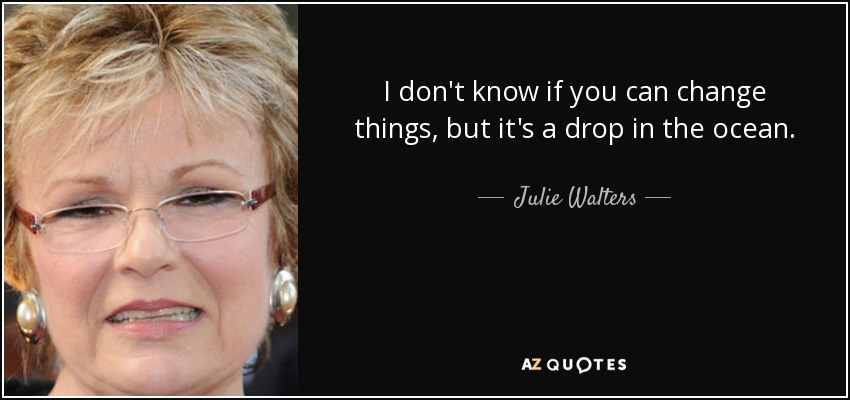 I don't know if you can change things, but it's a drop in the ocean. - Julie Walters