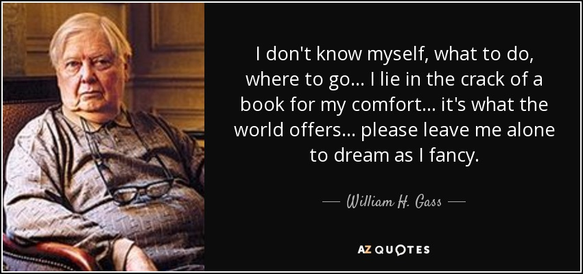 I don't know myself, what to do, where to go... I lie in the crack of a book for my comfort... it's what the world offers... please leave me alone to dream as I fancy. - William H. Gass