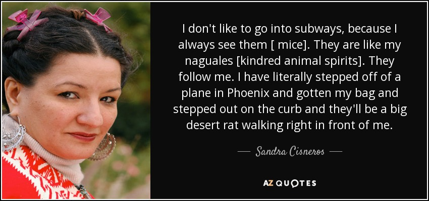 I don't like to go into subways, because I always see them [ mice]. They are like my naguales [kindred animal spirits]. They follow me. I have literally stepped off of a plane in Phoenix and gotten my bag and stepped out on the curb and they'll be a big desert rat walking right in front of me. - Sandra Cisneros