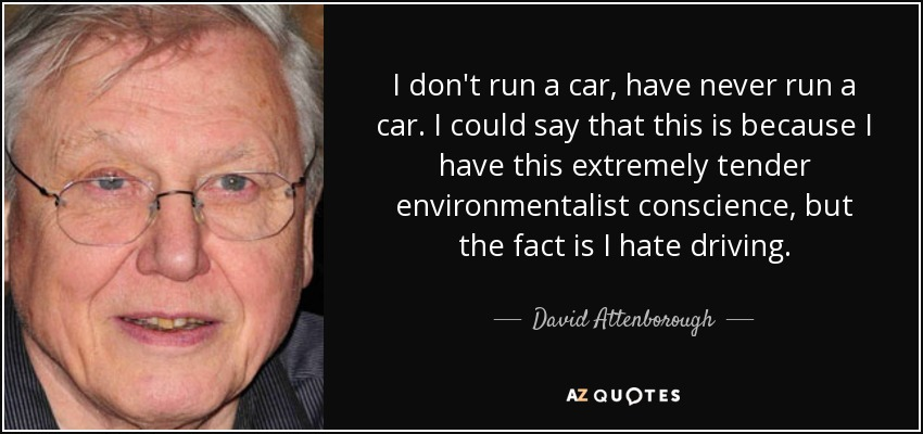 I don't run a car, have never run a car. I could say that this is because I have this extremely tender environmentalist conscience, but the fact is I hate driving. - David Attenborough