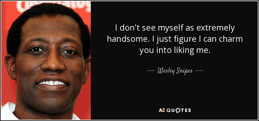 I don't see myself as extremely handsome. I just figure I can charm you into liking me. - Wesley Snipes