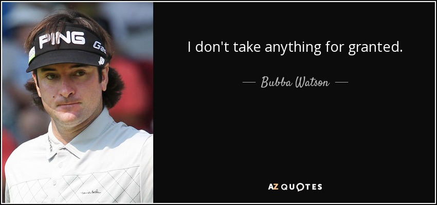 I don't take anything for granted. - Bubba Watson