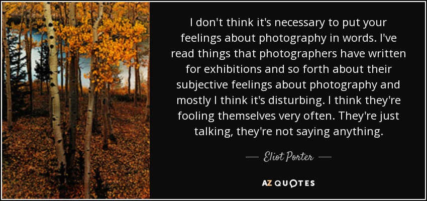 I don't think it's necessary to put your feelings about photography in words. I've read things that photographers have written for exhibitions and so forth about their subjective feelings about photography and mostly I think it's disturbing. I think they're fooling themselves very often. They're just talking, they're not saying anything. - Eliot Porter