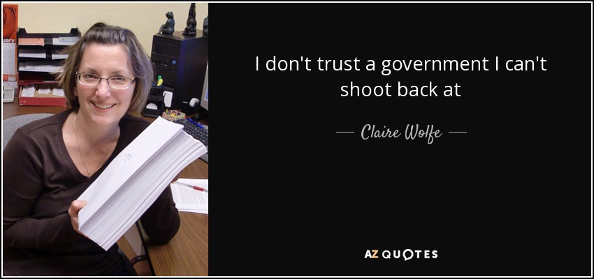 I don't trust a government I can't shoot back at - Claire Wolfe