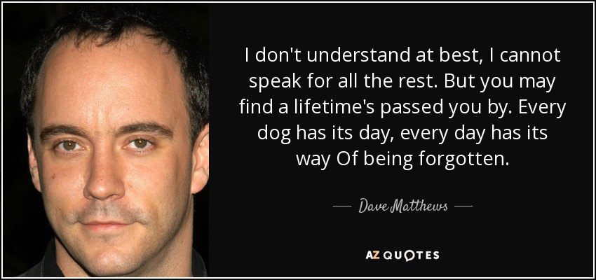 Dave Matthews Quote I Dont Understand At Best I Cannot Speak For