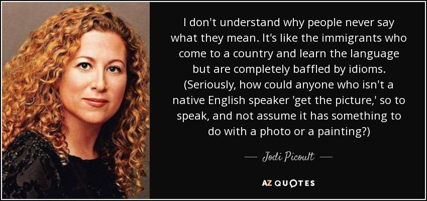 I don't understand why people never say what they mean. It's like the immigrants who come to a country and learn the language but are completely baffled by idioms. (Seriously, how could anyone who isn't a native English speaker 'get the picture,' so to speak, and not assume it has something to do with a photo or a painting?) - Jodi Picoult