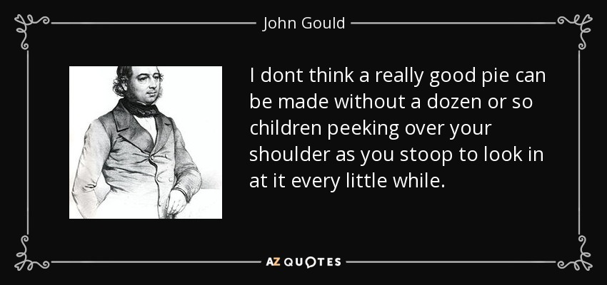 I dont think a really good pie can be made without a dozen or so children peeking over your shoulder as you stoop to look in at it every little while. - John Gould