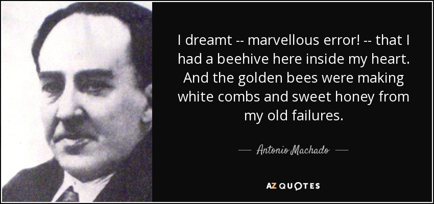 I dreamt -- marvellous error! -- that I had a beehive here inside my heart. And the golden bees were making white combs and sweet honey from my old failures. - Antonio Machado