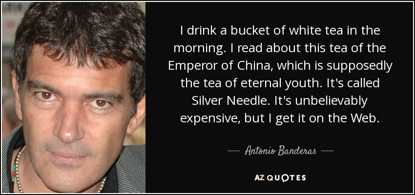 I drink a bucket of white tea in the morning. I read about this tea of the Emperor of China, which is supposedly the tea of eternal youth. It's called Silver Needle. It's unbelievably expensive, but I get it on the Web. - Antonio Banderas