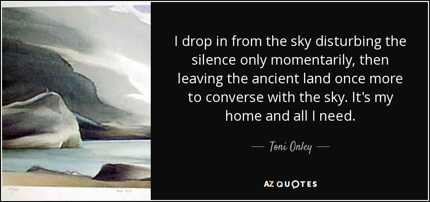 I drop in from the sky disturbing the silence only momentarily, then leaving the ancient land once more to converse with the sky. It's my home and all I need. - Toni Onley