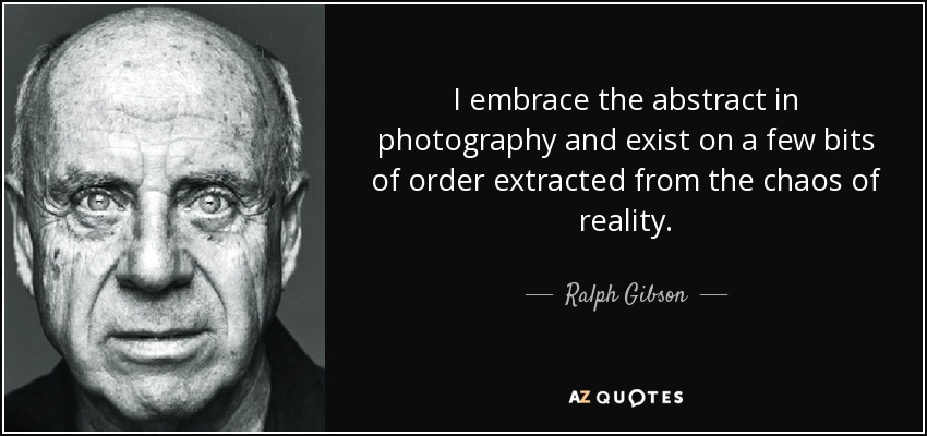 I embrace the abstract in photography and exist on a few bits of order extracted from the chaos of reality. - Ralph Gibson