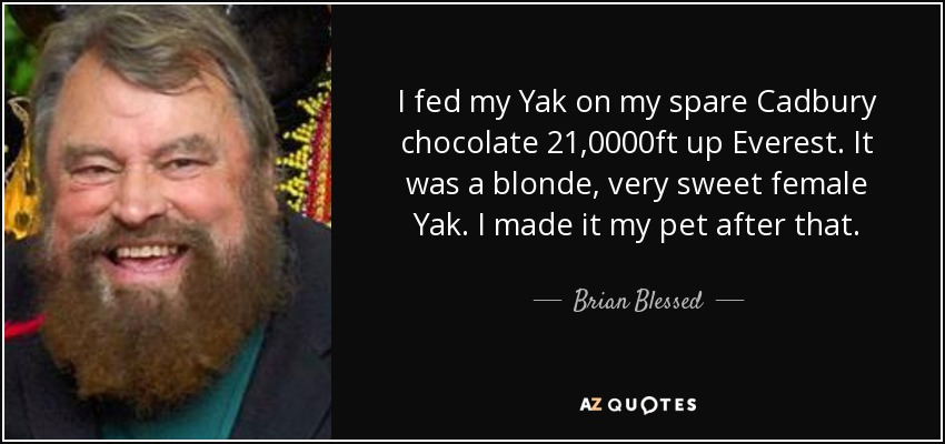 I fed my Yak on my spare Cadbury chocolate 21,0000ft up Everest. It was a blonde, very sweet female Yak. I made it my pet after that. - Brian Blessed