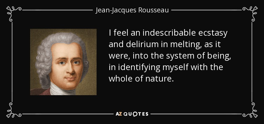 I feel an indescribable ecstasy and delirium in melting, as it were, into the system of being, in identifying myself with the whole of nature.. - Jean-Jacques Rousseau