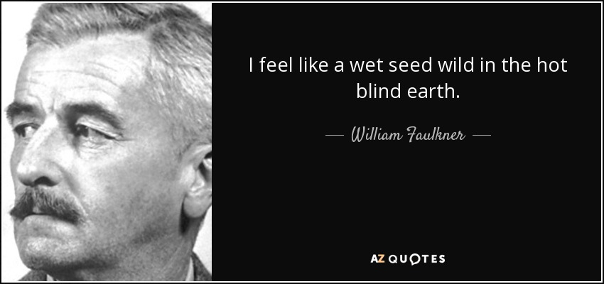 I feel like a wet seed wild in the hot blind earth. - William Faulkner