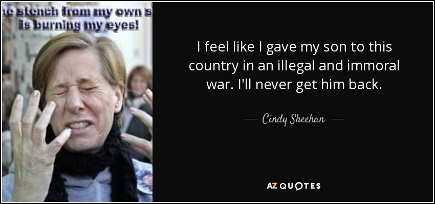 I feel like I gave my son to this country in an illegal and immoral war. I'll never get him back. - Cindy Sheehan