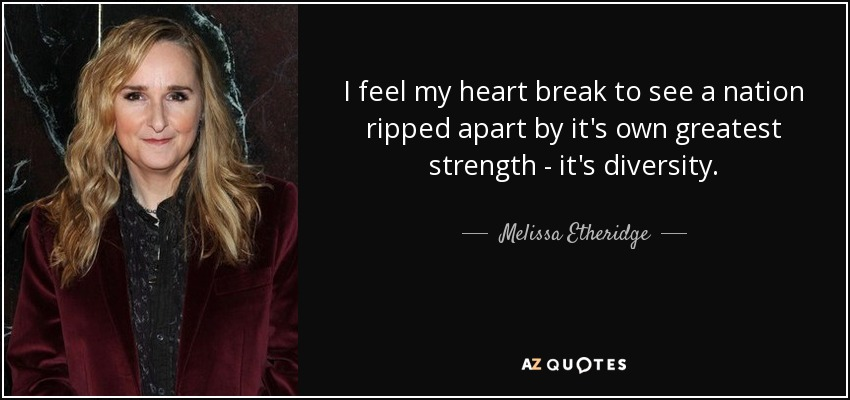 I feel my heart break to see a nation ripped apart by it's own greatest strength - it's diversity. - Melissa Etheridge