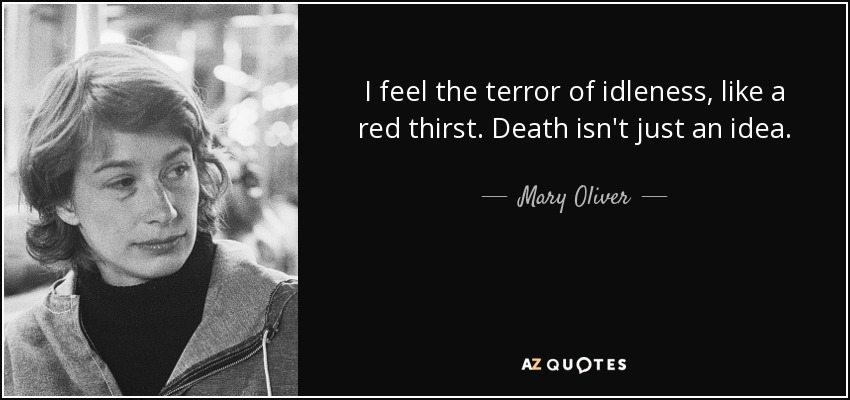 I feel the terror of idleness, like a red thirst. Death isn't just an idea. - Mary Oliver