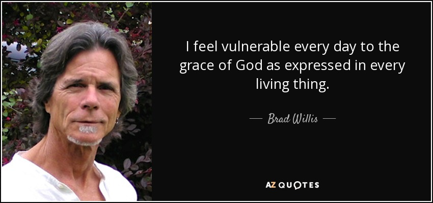 I feel vulnerable every day to the grace of God as expressed in every living thing. - Brad Willis