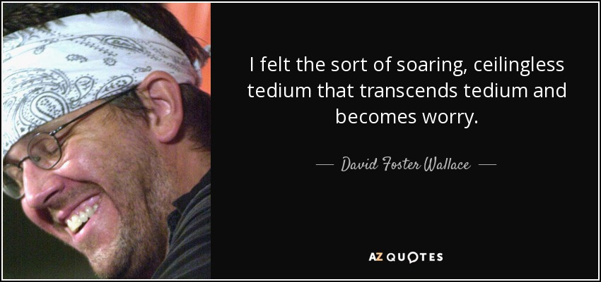 I felt the sort of soaring, ceilingless tedium that transcends tedium and becomes worry. - David Foster Wallace