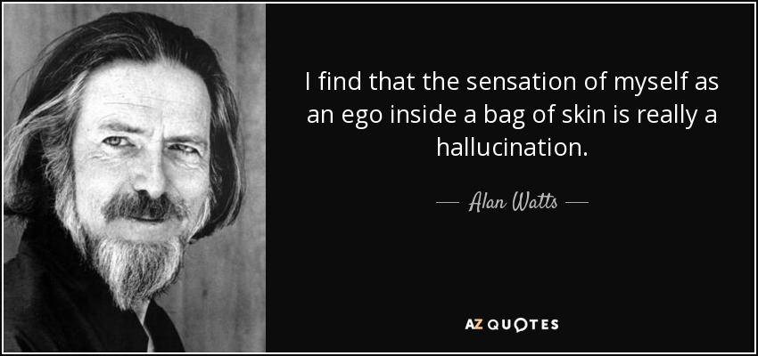 I find that the sensation of myself as an ego inside a bag of skin is really a hallucination. - Alan Watts