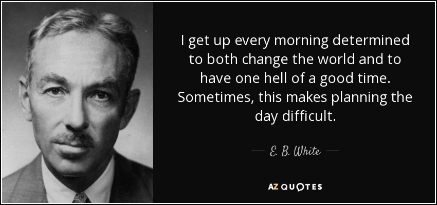 I get up every morning determined to both change the world and to have one hell of a good time. Sometimes, this makes planning the day difficult. - E. B. White