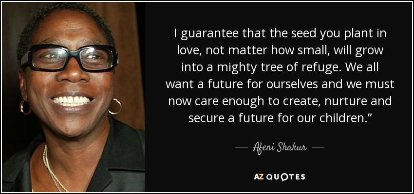 Afeni Shakur Quote I Guarantee That The Seed You Plant In Love Not