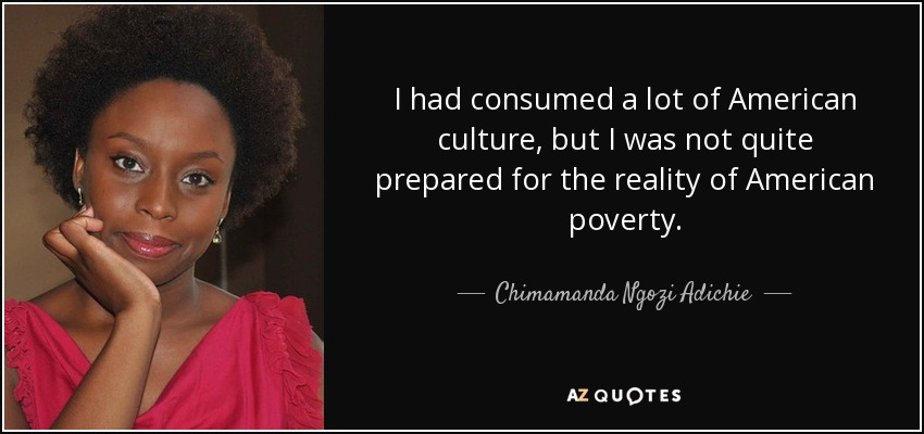 I had consumed a lot of American culture, but I was not quite prepared for the reality of American poverty. - Chimamanda Ngozi Adichie
