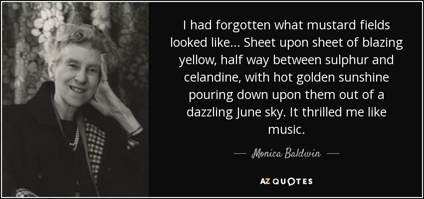 I had forgotten what mustard fields looked like... Sheet upon sheet of blazing yellow, half way between sulphur and celandine, with hot golden sunshine pouring down upon them out of a dazzling June sky. It thrilled me like music. - Monica Baldwin