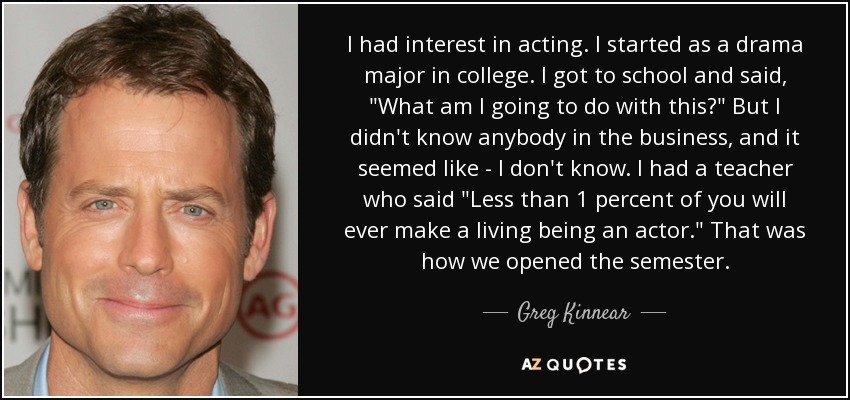 I had interest in acting. I started as a drama major in college. I got to school and said,