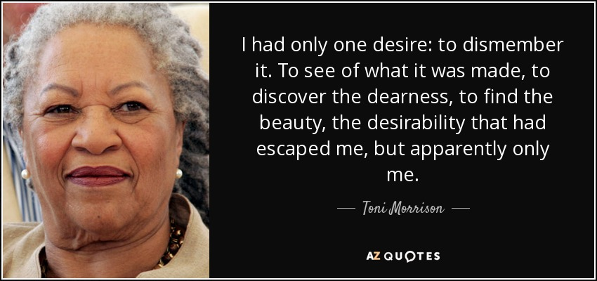 I had only one desire: to dismember it. To see of what it was made, to discover the dearness, to find the beauty, the desirability that had escaped me, but apparently only me. - Toni Morrison