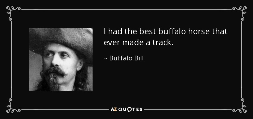 I had the best buffalo horse that ever made a track. - Buffalo Bill